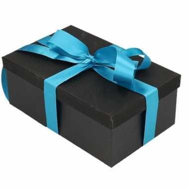 Goedkope cadeau gift box set zwart glitter turqouise blauw lint