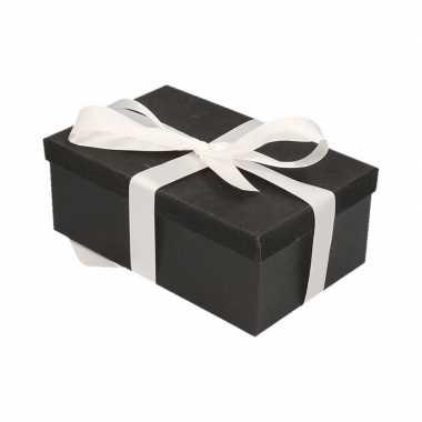 Goedkope cadeau gift box set zwart glitter wit lint