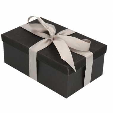 Goedkope cadeau gift box set zwart glitter zilverkleur lint