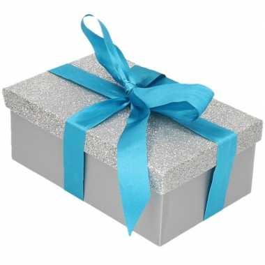 Goedkope cadeau gift box zilver glitter blauw lint