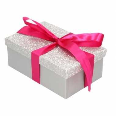 Goedkope cadeau gift box zilver glitter fuchsia roze lint