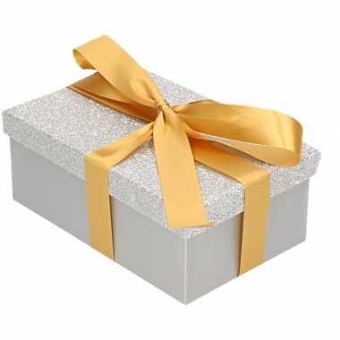 Goedkope cadeau gift box zilver glitter goud kadolint