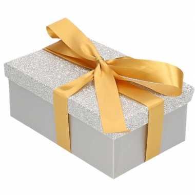 Goedkope cadeau gift box zilver glitter goudkleurig kadolint