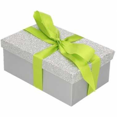 Goedkope cadeau gift box zilver glitter lichtgroen kadolint