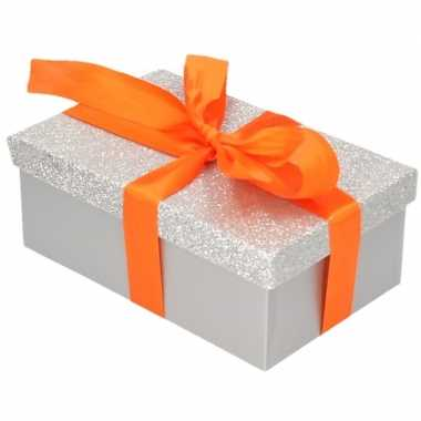 Goedkope cadeau gift box zilver glitter oranje kadolint