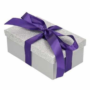 Goedkope cadeau gift box zilver glitter paars kadolint