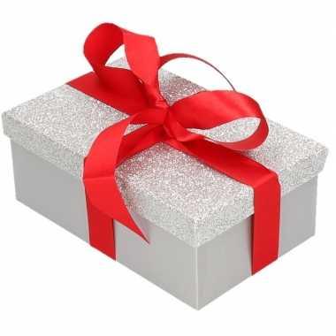 Goedkope cadeau gift box zilver glitter rood kadolint