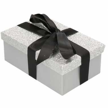Goedkope cadeau gift box zilver glitter zwart kado lint