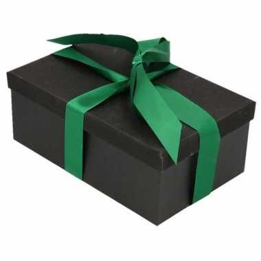 Goedkope cadeau gift box zwart donkergroen cadeaulint