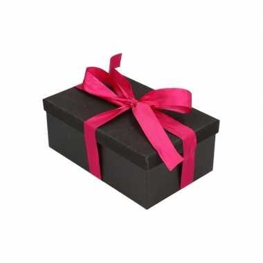 Goedkope cadeau gift box zwart fuchsia roze cadeau lint