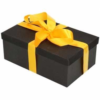 Goedkope cadeau gift box zwart geel cadeaulint
