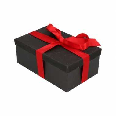 Goedkope cadeau gift box zwart glitter cadeaudoosje rood lint