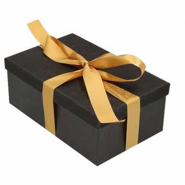 Goedkope cadeau gift box zwart goudkleurig cadeaulint