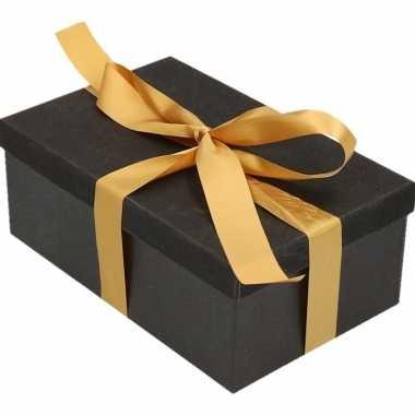 Goedkope cadeau gift box zwart goudkleurig kadolint