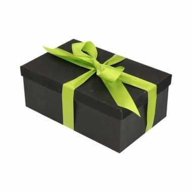 Goedkope cadeau gift box zwart lichtgroen cadeaulint