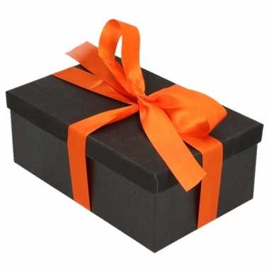 Goedkope cadeau gift box zwart oranje cadeau lint