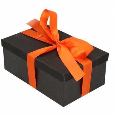 Goedkope cadeau gift box zwart oranje cadeaulint