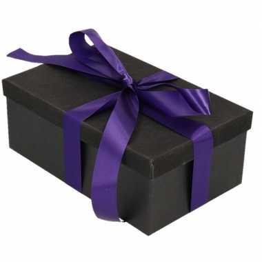Goedkope cadeau gift box zwart paars kado lint
