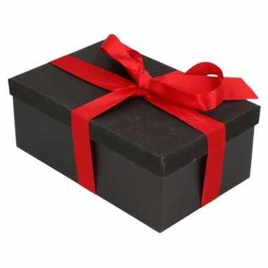 Goedkope cadeau gift box zwart rood cadeaulint