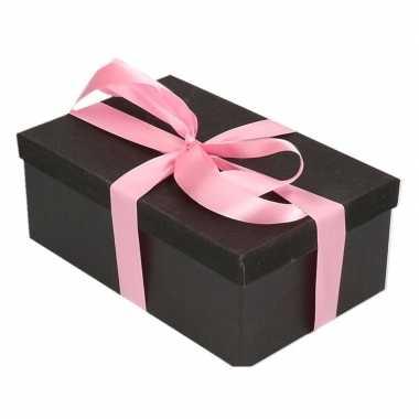 Goedkope cadeau gift box zwart roze cadeau lint