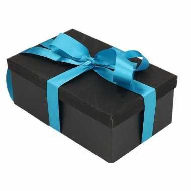 Goedkope cadeau gift box zwart turquoise blauw kado lint
