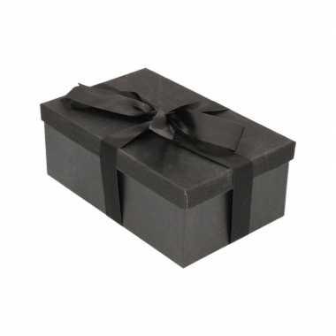 Goedkope cadeau gift box zwart zwart kado lint