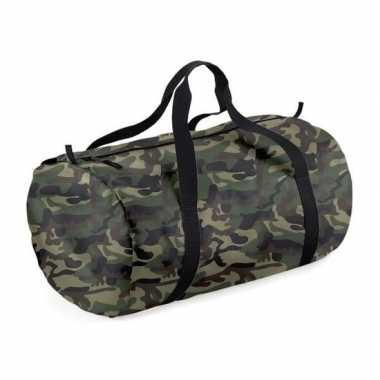 Goedkope camouflage groene ronde polyester sporttas/weekendtas liter