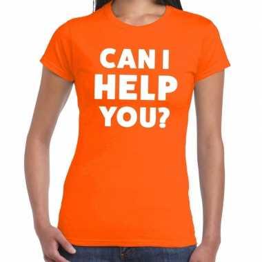 Goedkope can i help you beurs/evenementen t shirt oranje dames