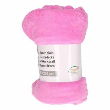 Goedkope cerise roze fleece deken