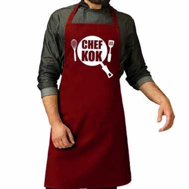 Goedkope chef kok barbeque schort / keukenschort bordeaux rood heren