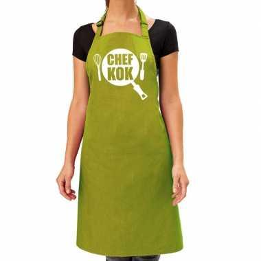 Goedkope chef kok barbeque schort / keukenschort lime groen dames