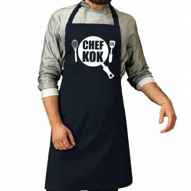 Goedkope chef kok barbeque schort / keukenschort navy heren