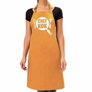 Goedkope chef kok barbeque schort / keukenschort oker geel dames