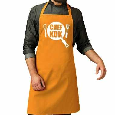 Goedkope chef kok barbeque schort / keukenschort oker geel her