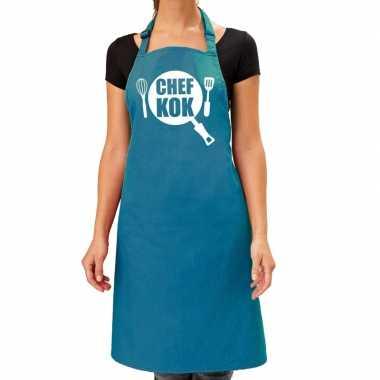 Goedkope chef kok barbeque schort / keukenschort turquoise blauw dame