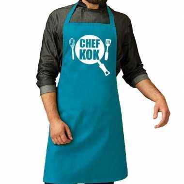 Goedkope chef kok barbeque schort / keukenschort turquoise blauw her
