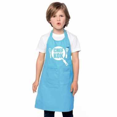 Goedkope chef kok keukenschort blauw kinderen