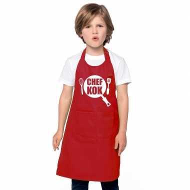 Goedkope chef kok keukenschort rood kinderen