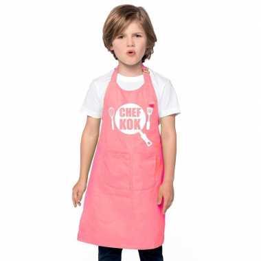 Goedkope chef kok keukenschort roze kinderen