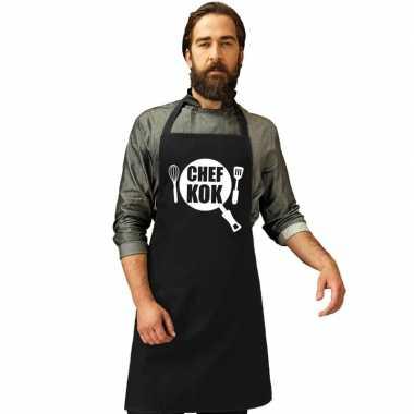 Goedkope chef kok keukenschort zwart heren dames