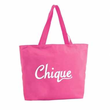 Goedkope chique shopper tas fuchsia roze