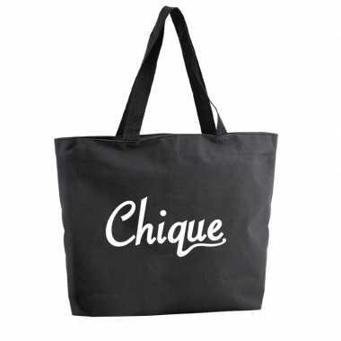 Goedkope chique shopper tas zwart