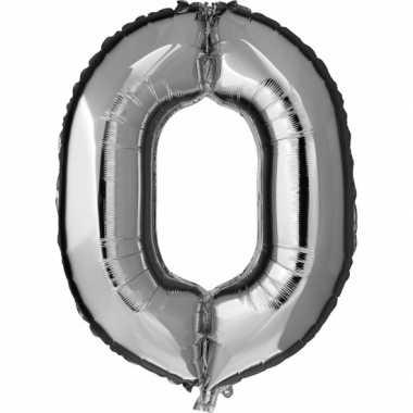 Goedkope cijfer nul ballon zilver
