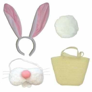 Goedkope complete paashaas accessoires set wit volwassenen