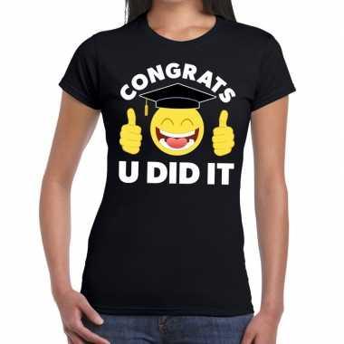 Goedkope congrats u did it t shirt geslaagd / afgestudeerd zwart dame