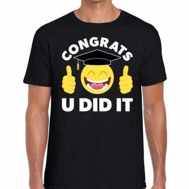 Goedkope congrats u did it t shirt geslaagd / afgestudeerd zwart here