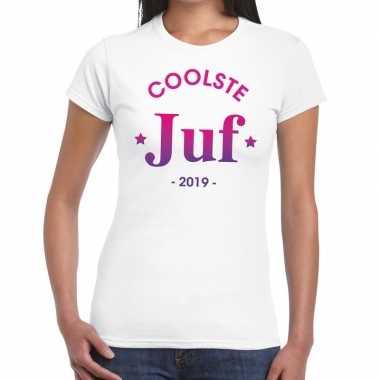 Goedkope coolste juf cadeau t shirt wit dames