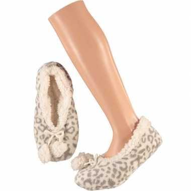 Goedkope dames ballerina pantoffels/sloffen luipaard grijs maat