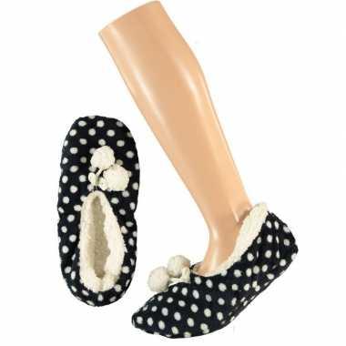 Goedkope dames ballerina pantoffels/sloffen stippen navy maat