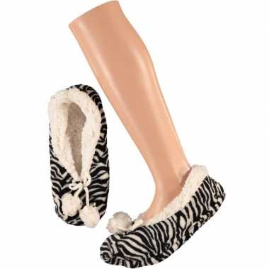 Goedkope dames ballerina pantoffels/sloffen zebra zwart/wit maat